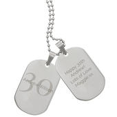 Personalised Big Age Stainless Steel Double Dog Tag Necklace - Personalise It!