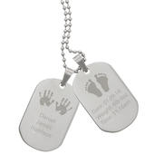 Personalised Hands and Feet New Baby Stainless Steel Double Dog Tag Necklace - Personalise It!