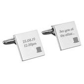 Personalised Top Hat Wedding Square Cufflinks - Personalise It!