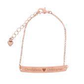 Personalised Rose Gold Tone Heart Bar Bracelet - Personalise It!