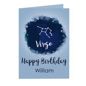 Personalised Virgo Zodiac Star Sign Card (August 23rd - September 22nd) Add Any Name - Personalise It!