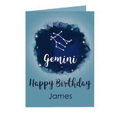 Personalised Gemini Zodiac Star Sign Card (May 21st - June 20th) Add Any Name - Personalise It!