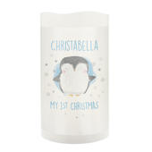 Personalised 1st Christmas Penguin LED Candle - Personalise It!