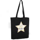 Personalised Star Teacher Black Cotton Bag - Personalise It!