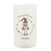 Personalised Scandinavian Christmas Gnome LED Candle - Personalise It!