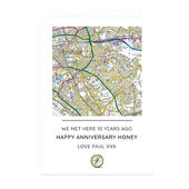 Personalised Present Day Map Compass Card Add Any Name - Personalise It!