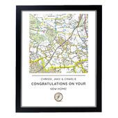Personalised Present Day Map Compass Black Framed Print - Personalise It!