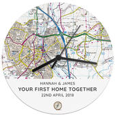 Personalised Present Day Map Compass Wooden Clock - Personalise It!