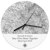 Personalised 1805 - 1874 Old Series Map Compass Wooden Clock - Personalise It!