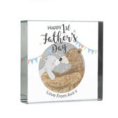 Personalised 1st Father's Day Daddy Bear Large Crystal Token - Personalise It!
