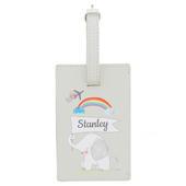 Personalised Hessian Elephant Cream Luggage Tag - Personalise It!