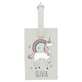 Personalised Unicorn Cream Luggage Tag - Personalise It!