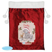 Personalised Me to You Reindeer Luxury Pom Pom Red Sack - Personalise It!