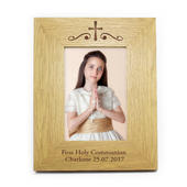 Personalised Religious Swirl 5x7 Wooden Photo Frame - Personalise It!