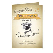 Personalised Gold Star Graduation Card Add Any Name - Personalise It!