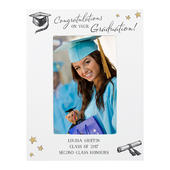 Personalised Gold Star Graduation 4x6 White Wooden Photo Frame - Personalise It!