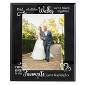 Personalised Of All the Walks... Wedding 5x7 Black Glass Photo Frame - Personalise It!