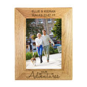Personalised Our Adventures 5x7 Wooden Photo Frame - Personalise It!