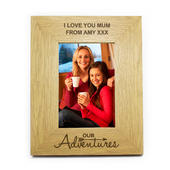 Personalised Our Adventures 4x6 Oak Finish Photo Frame - Personalise It!