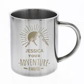 Personalised 'Adventure Awaits' Stainless Steel Mug - Personalise It!