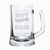 Personalised Greatest Dad Glass Pint Stern Tankard - Personalise It!
