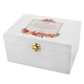 Personalised Floral Wishes White Wooden Keepsake Box - Personalise It!