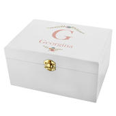 Personalised Floral Bouquet White Wooden Keepsake Box - Personalise It!