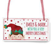 Personalised Christmas Elf Wooden Sign - Personalise It!