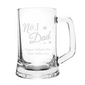 Personalised No.1 Dad Glass Pint Stern Tankard - Personalise It!