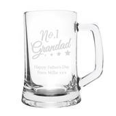 Personalised No.1 Grandad Glass Pint Stern Tankard - Personalise It!