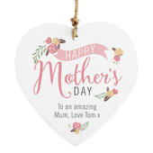 Personalised Floral Bouquet Mother's Day Wooden Heart Decoration - Personalise It!
