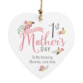 Personalised Floral Bouquet 1st Mothers Day Wooden Heart Decoration - Personalise It!