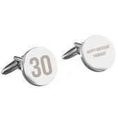 Personalised Birthday Big Age Round Cufflinks - Personalise It!