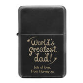 Personalised 'World's Greatest Dad' Black Lighter - Personalise It!