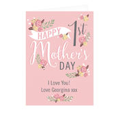 Personalised Floral Bouquet 1st Mother's Day Card Add Any Name - Personalise It!
