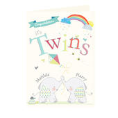 Personalised Hessian Elephant Twins Card Add Any Name - Personalise It!