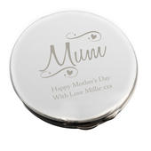 Personalised Mum Swirls & Hearts Compact Mirror - Personalise It!