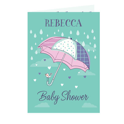 Personalised Baby Shower Umbrella Card Add Any Name - Personalise It!
