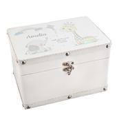 Personalised Hessian Friends White Leatherette Keepsake Box - Personalise It!