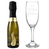 Personalised Its Time for Prosecco Flute & Mini Prosecco Set - Personalise It!