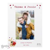 Personalised Boofle Shared Heart White 4x6 Photo Frame - Personalise It!