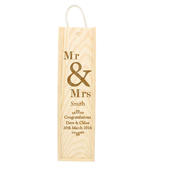 Personalised Couples Wooden Wine Bottle Box - Personalise It!