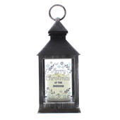 Personalised Christmas Frost Rustic Black Lantern - Personalise It!