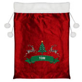 Personalised Nordic Christmas Luxury Pom Pom Red Sack - Personalise It!