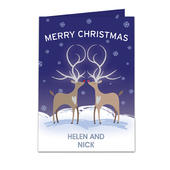 Personalised Reindeer Couple Card Add Any Name - Personalise It!