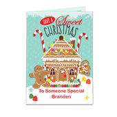 Personalised Gingerbread House Card Add Any Name - Personalise It!