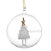 Personalised Name Only Christmas Tree Glass Bauble - Personalise It!