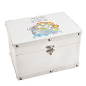Personalised Noah's Ark White Leatherette Keepsake Box - Personalise It!