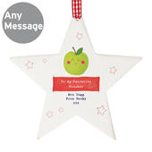 Personalised Apple for the Teacher Wooden Star Decoration - Personalise It!