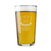 Personalised No.1 Shield Pint Glass - Personalise It!